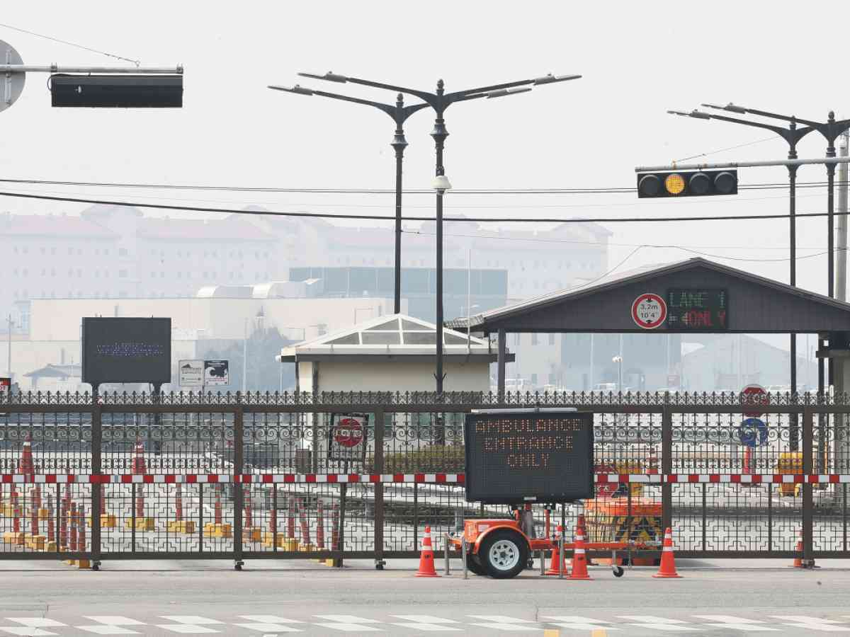Seen in this file photo is a gate of the US base Camp Humphreys in Pyeongtaek, south of Seoul. (Yonhap)