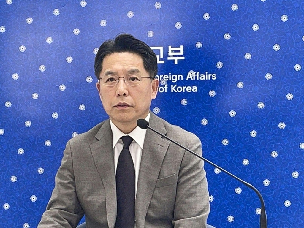 Noh Kyu-duk, South Korea`s chief nuclear negotiator, speaks from Seoul during a videoconference co-hosted by the French Institute for International and Strategic Affairs (IRIS) and the South Korean Embassy in France, in this photo provided by the foreign ministry on June 22, 2021. (PHOTO NOT FOR SALE) (Yonhap)