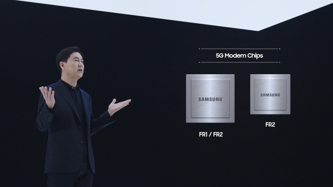 Cheun Kyung-whoon, president and head of the networks business at Samsung, presents new 5G chipsets during a virtual event on Tuesday. (Samsung Electronics)