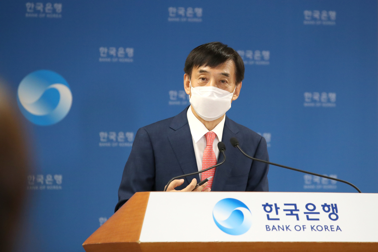 BOK Gov. Lee Ju-yeol speaks to reporters at a press briefing held at the central bank headquarters in Seoul on Thursday. (Bank of Korea)