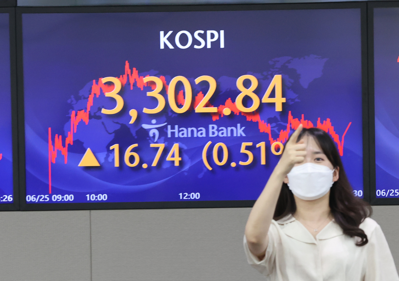 An electronic board displays the closing mark of South Korea's benchmark Kospi at the trading room of Hana Bank in Seoul on Fridday. (Yonhap)