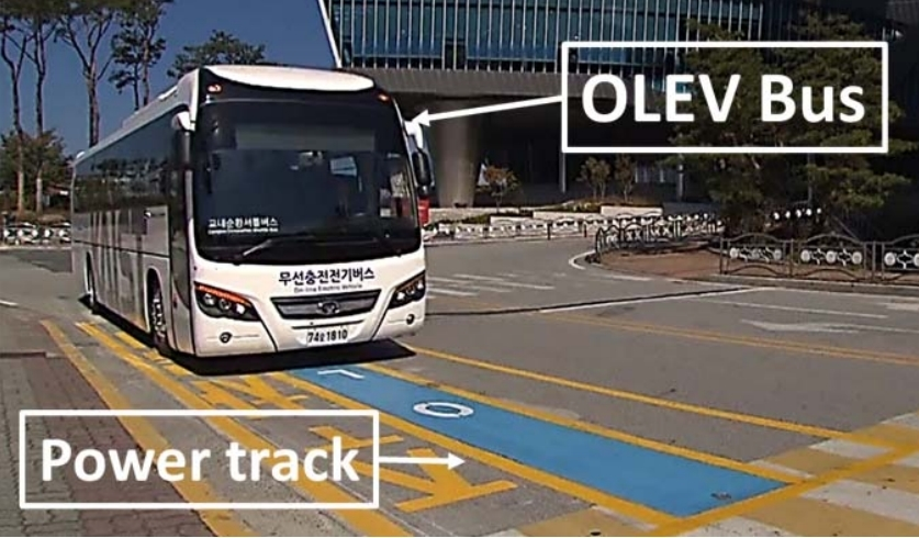 An OLEV bus developed by the Korea Advanced Institute of Science and Technology (KAIST)