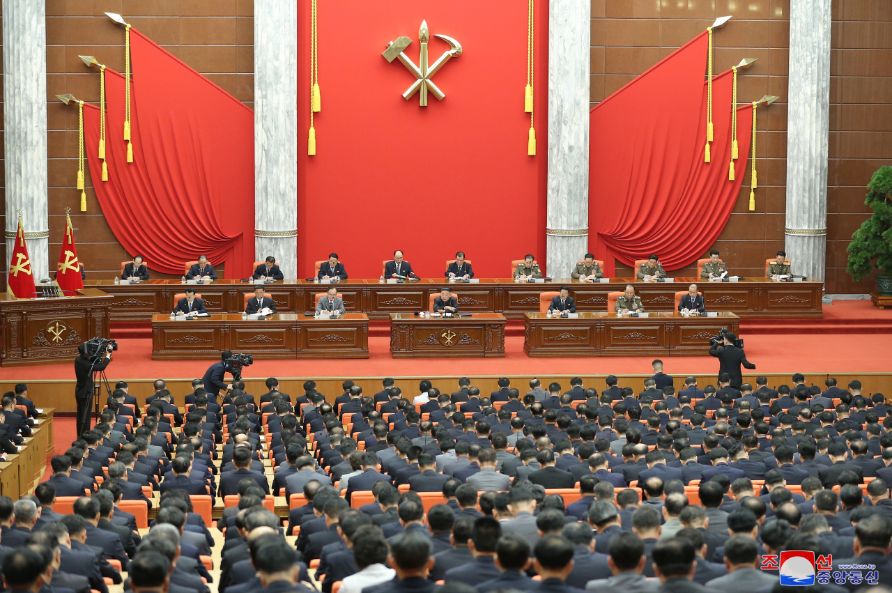 The Workers' Party's politburo meeting takes place in Pyongyang on Tuesday, with North Korean leader Kim Jong-un in attendance, in this photo provided by the Korean Central News Agency (KCNA).