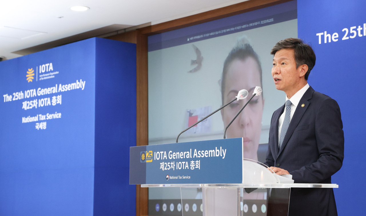 NTS Commissioner Kim Dae-ji speaks at the 25th IOTA General Assembly held via video link. (National Tax Service)