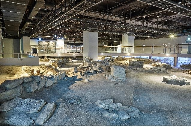This photo, provided by the Seoul metropolitan government on July 6, 2021, shows the remains of a Joseon-era government munitions office on display in the basement of the new City Hall building. (Seoul metropolitan government)