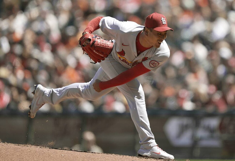 In this Getty Images photo, Kim Kwang-hyun of the St. Louis Cardinals pitches against the San Francisco Giants in the bottom of the first inning of a Major League Baseball regular season game at Oracle Park in San Francisco on Monday. (Getty Images)