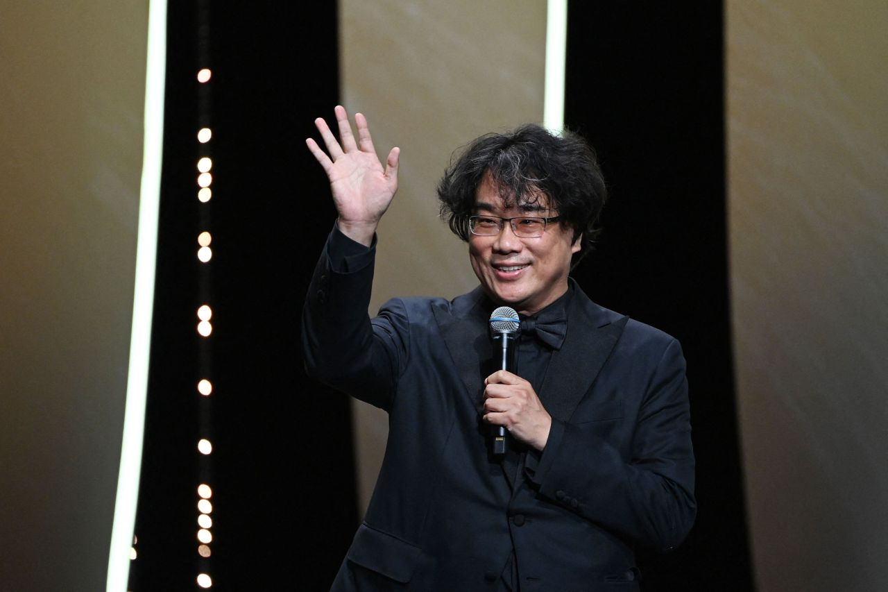 In this EPA photo, South Korean director Bong Joon-ho speaks during the opening ceremony of the 74th Cannes Film Festival in Cannes, France, on Tuesday. (Yonhap)