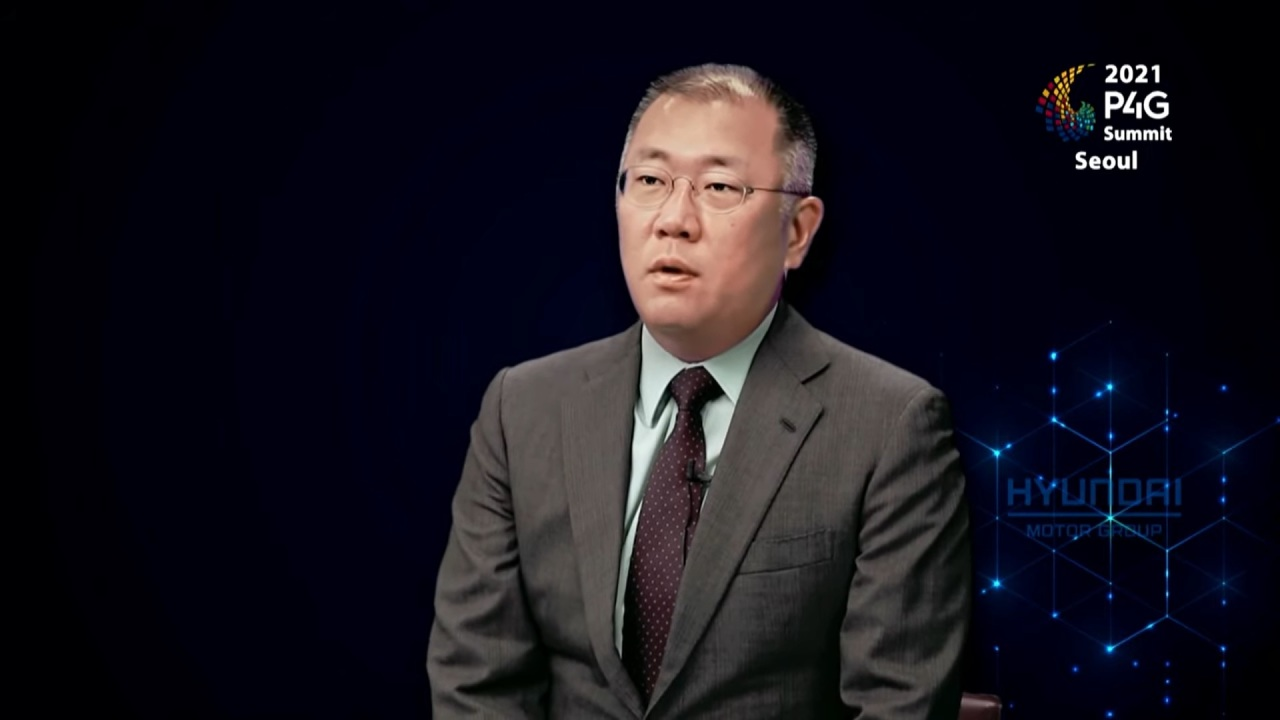 Hyundai Motor Group Chairman Chung Euisun speaks at the P4G Seoul Summit in May in this image capture. (P4G Seoul Summit)
