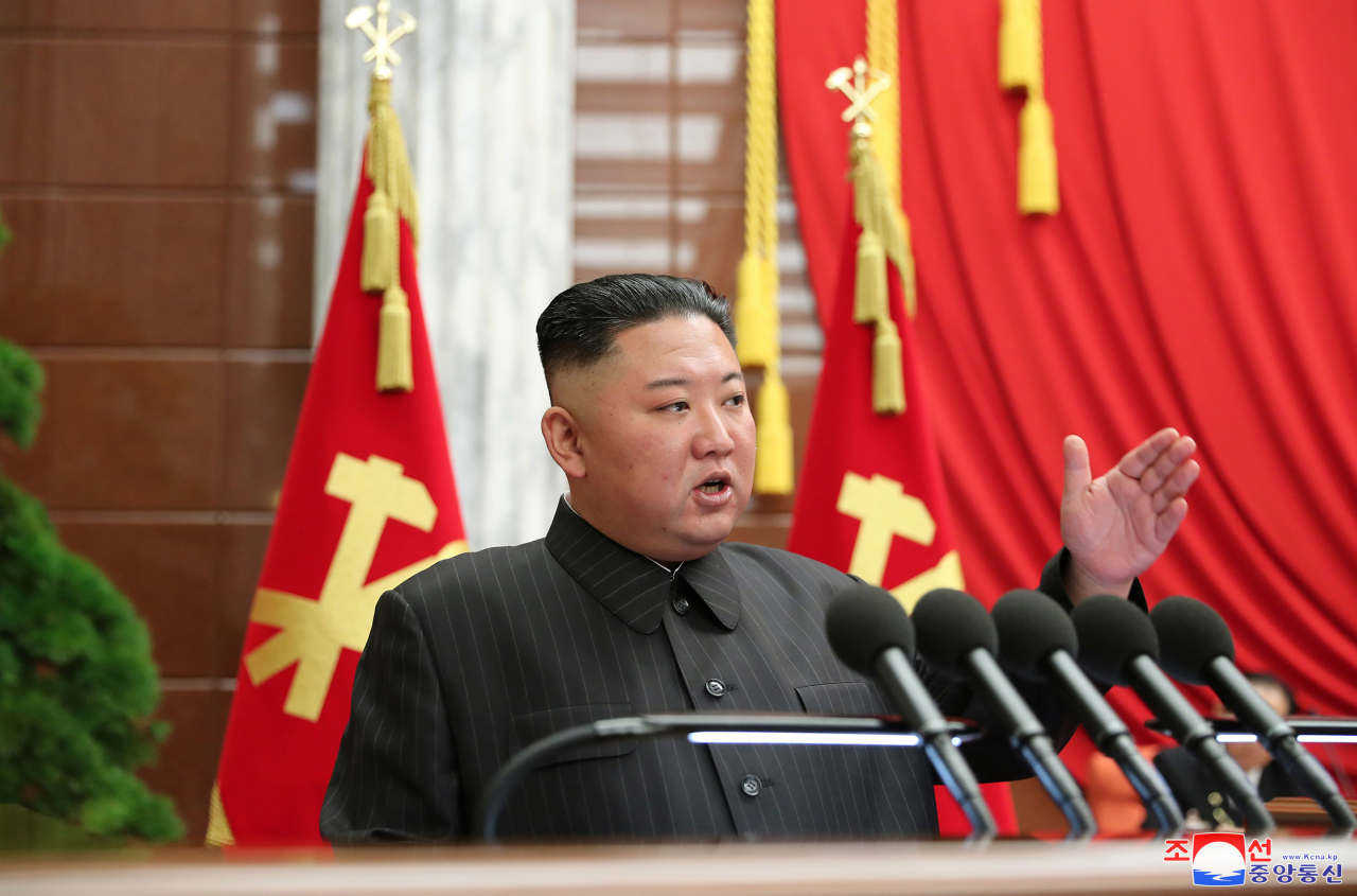North Korean leader Kim Jong-un speaks during the Workers' Party's politburo meeting in Pyongyang on June 29, 2021, in this photo provided by the Korean Central News Agency (KCNA).
