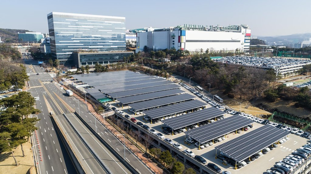 This file photo provided by Samsung Electronics Co. on April 1, 2021, shows a parking lot of the company's chip plant in Yongin, south of Seoul. (Samsung Electronics Co.)