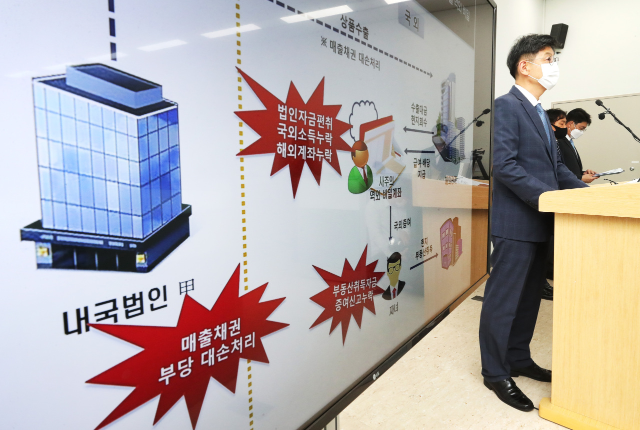 Kim Dong-il, the investigation bureau head of the National Tax Service, shows the flow of money parked in secret overseas accounts and cases of companies dodging taxes by using fintech platforms at the Sejong Government Complex, Wednesday. (Yonhap)