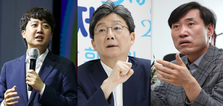From left: People Power Party Chariman Lee Jun-seok, former lawmaker Seung-min and Rep. Ha Tae-keung (Yonhap)