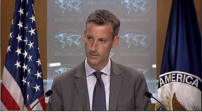 Ned Price, spokesman for the US Department of State, is seen answering questions at a press briefing at the department in Washington on Thursday, in this image captured from the website of the State Department. (State Department)