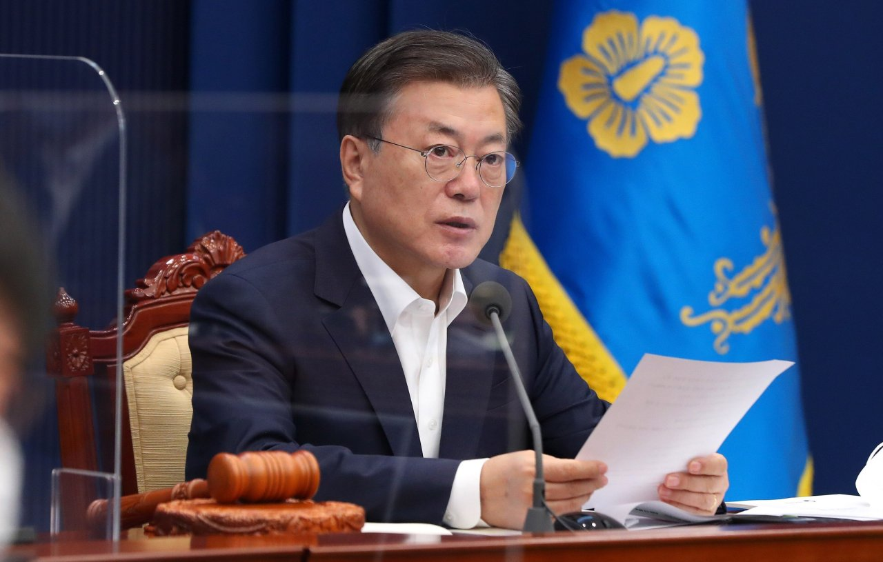 President Moon Jae-in speaks during a Cabinet meeting at the presidential office in Seoul on Feb. 2, 2021. (Yonhap)