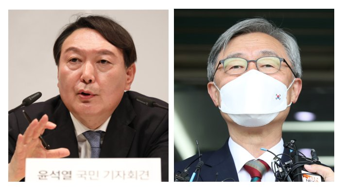 Former Prosecutor General Yoon Seok-youl (L) and former top auditor Choe Jae-hyeong (R) (Yonhap)