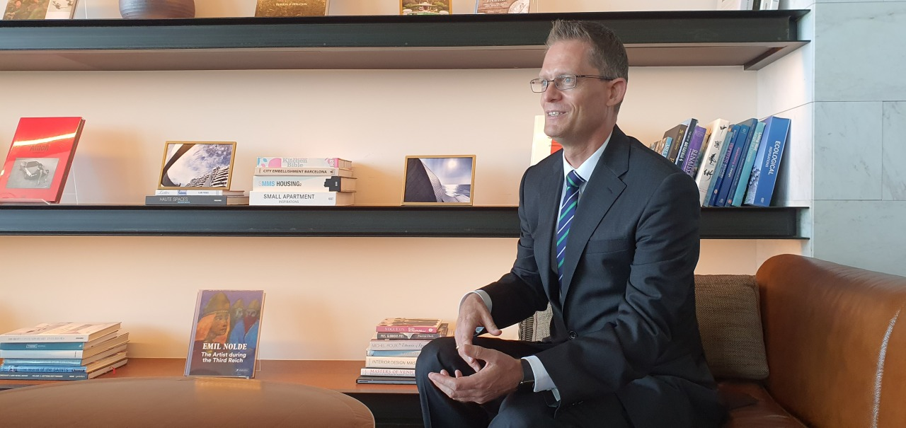 Peer Norsell, general manager of Ananti Hilton Busan, speaks during an interview with The Korea Herald on Monday. (Kim Hae-yeon/The Korea Herald)