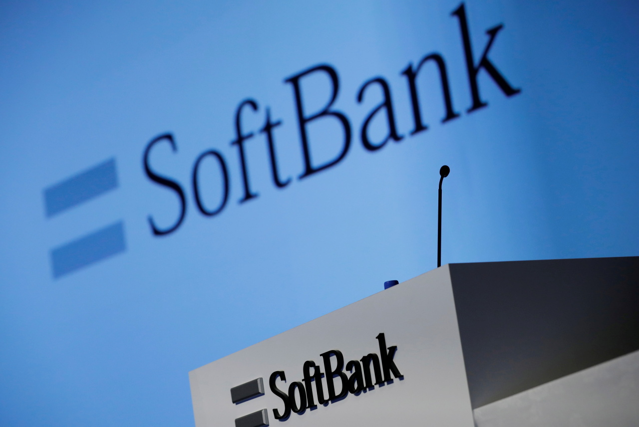 SoftBank's logo is pictured at a news conference in Tokyo, Japan. (Reuters-Yonhap)