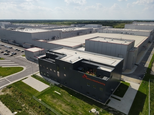 This photo provided by SK Innovation Co. on Sunday, shows the company's electric vehicle battery plant being built in Komarom, Hungary. (SK Innovation Co.)