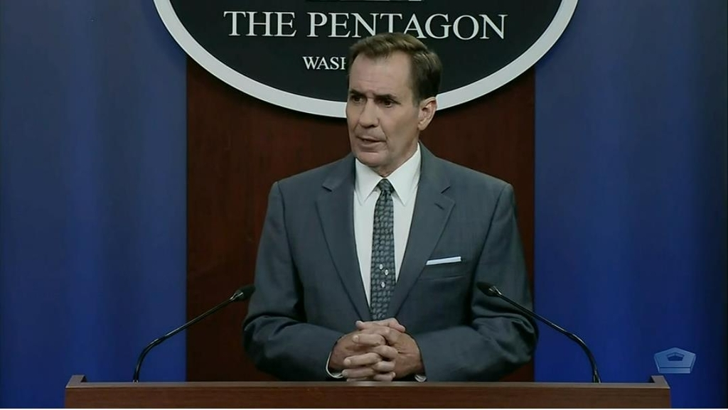 John Kirby, spokesman for the US Department of Defense, is seen answering questions at a press briefing at the Defense Department in Washington on Monday, in this image captured from the department's website. (Defense Department in Washington)