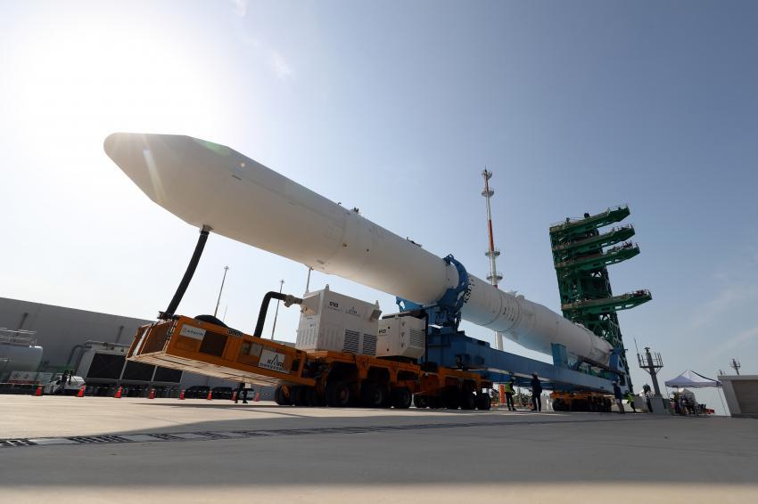 A test model of the Nuri space rocket scheduled for a launch in October this year is transported to its launch pad at the Naro Space Center in Goheung, 473 kilometers south of Seoul, in this file photo taken June 1, 2021. (Yonhap)