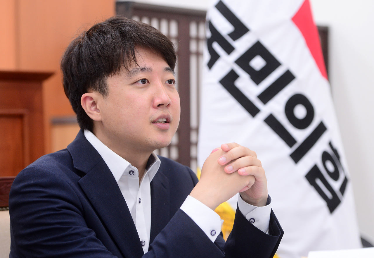 People Power Party leader Lee Jun-seok speaks in an interview with The Korea Herald on Monday. (Lee Sang-sub/The Korea Herald)