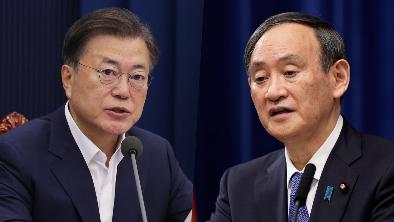 This composite photo, provided by Yonhap News TV, shows South Korean President Moon Jae-in (L) and Japanese Prime Minister Yoshihide Suga. (Yonhap News TV)