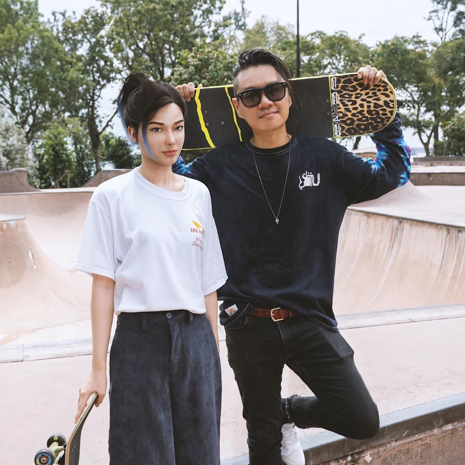 Rae and cult label SBTG founder Mark at a skate park. (SBTG)