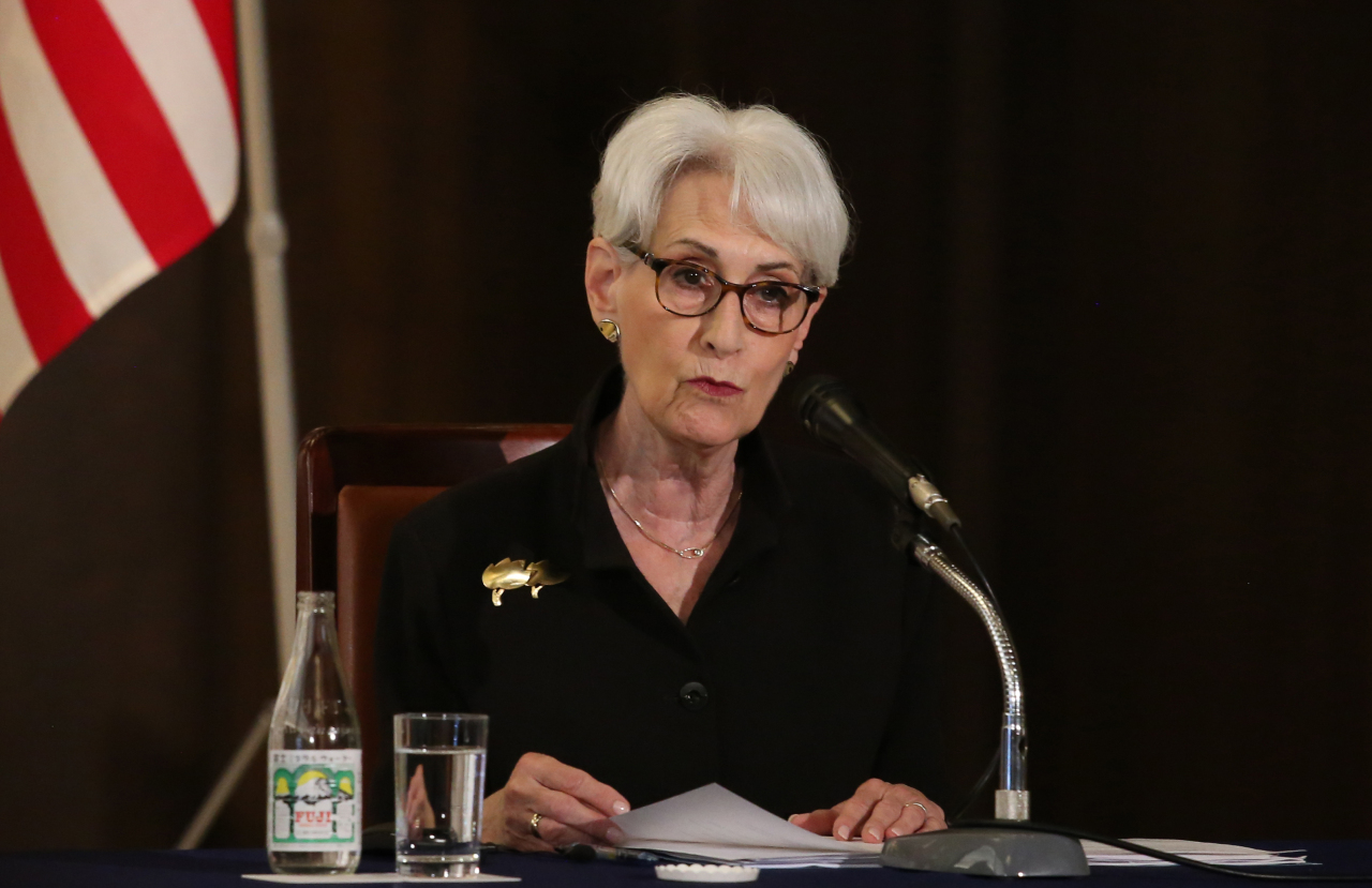 This photo, taken on Wednesday, shows US Deputy Secretary of State Wendy Sherman speaking during a press conference in Tokyo. (Yonhap)