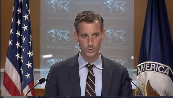 US Department of State spokesman Ned Price is seen answering questions at a daily press briefing at the State Department in Washington on Thursday, in this image captured from the department's website. (State Department's website)