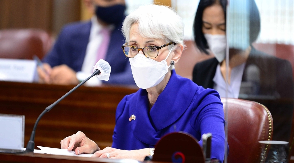 US Deputy Secretary of State Wendy Sherman speaks during a meeting with First Vice Foreign Minister Choi Jong-kun at the foreign ministry in Seoul on Friday, in this photo provided by the ministry. (Foreign Ministry)