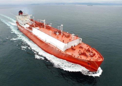 This file photo provided by Korea Shipbuilding & Offshore Engineering Co.(KSOE) shows an LNG ship built by its main affiliate, Hyundai Heavy Industries. (Korea Shipbuilding & Offshore Engineering Co.)
