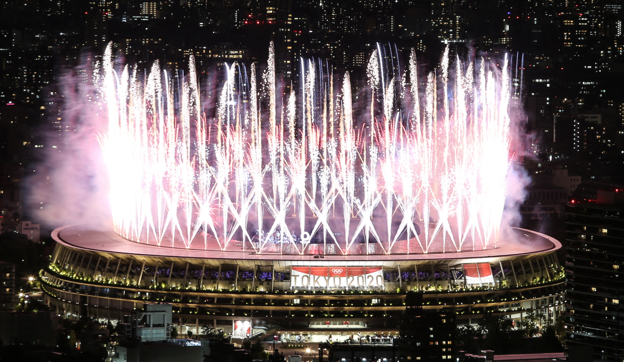 The opening ceremony of the Tokyo Olympics at the National Stadium in Tokyo on July 23, 2021. (Yonhap)