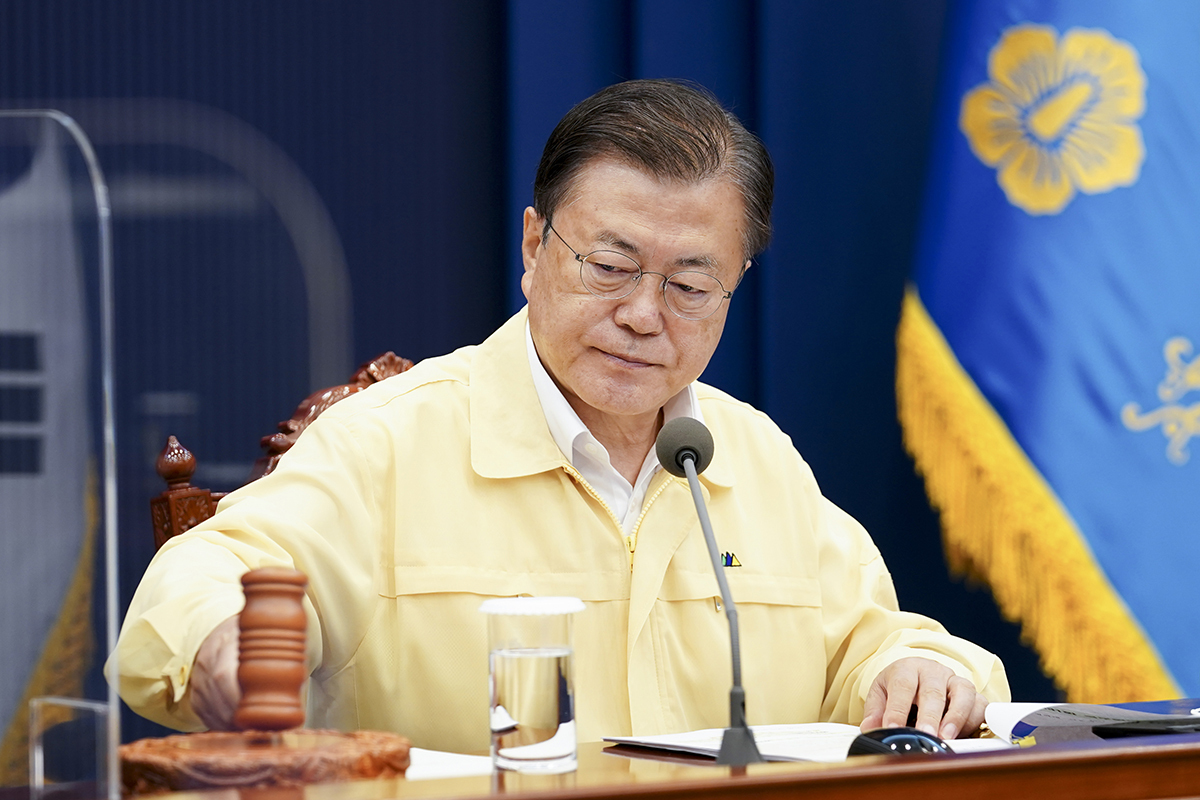 President Moon Jae-in during a recent Cabinet meeting (Yonhap)
