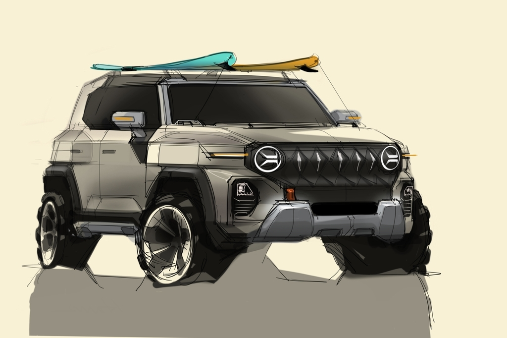 SsangYong Motor Corp. unveils a design sketch of its new sport utility vehicle under development on Monday. (SsangYong Motor Corp.)