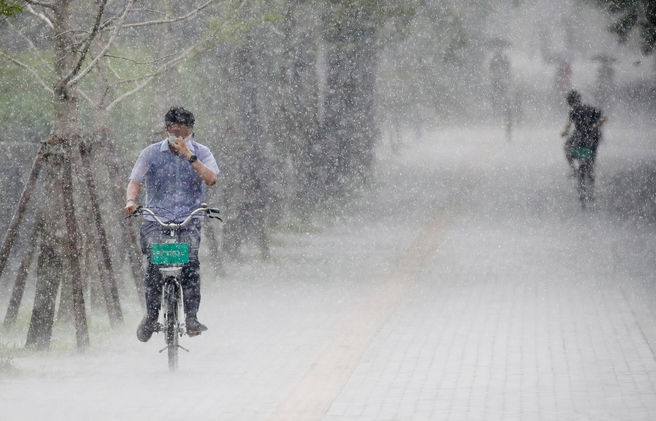 A Ddareungi user rides the rental bike through rain late last month. (Yonhap)