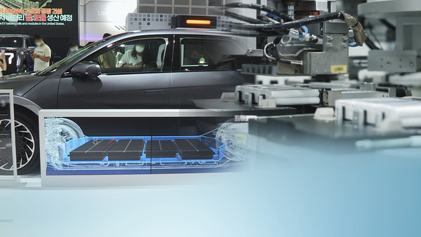 This image, provided by Yonhap New TV, shows South Korea's investment in batteries for electric vehicles. (Yonhap New TV)