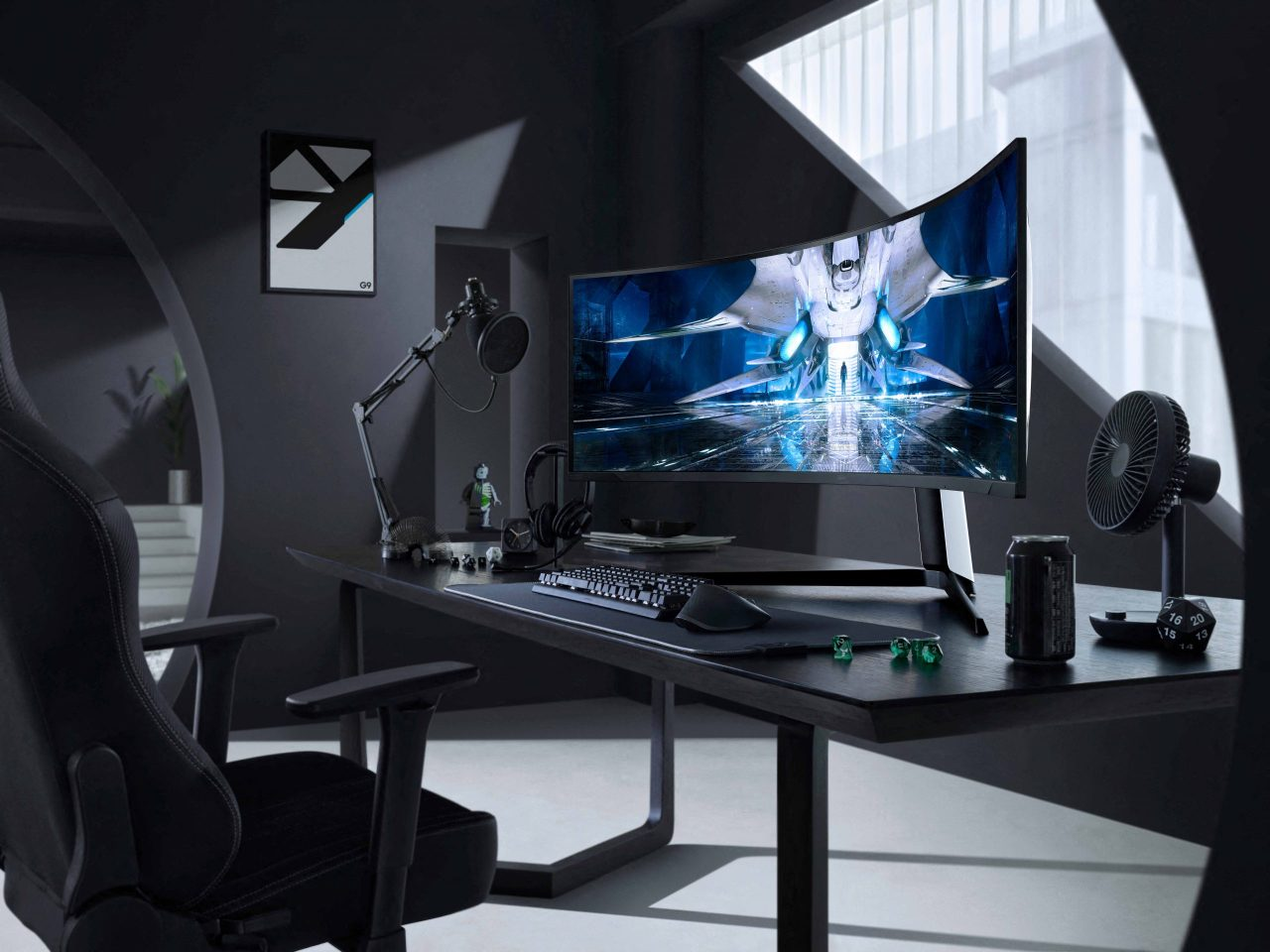 This photo provided by Samsung Electronics Co. on Tuesday, shows the Odyssey Neo G9 curved gaming monitor using the Mini LED display. (Samsung Electronics Co.)