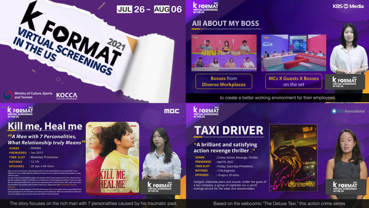 """The image shows KBS Media's """"All About My Boss"""" (top right), MBC's """"Kill Me, Heal Me"""" (bottom left) and SBS International's """"Taxi Driver"""" (bottom right) (KOCCA)"""
