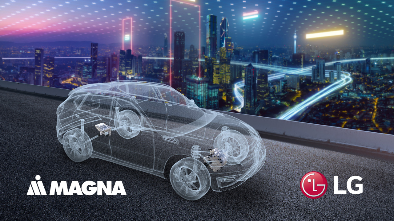 This image, provided by LG Electronics on Dec. 23, 2020, shows a concept for a future vehicle using parts from LG and Magna International. The two sides agreed to set up a joint venture to make auto parts, including e-motors and inverters. (Magna International)