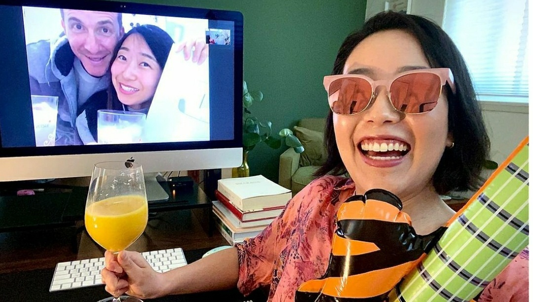 Claire Kim takes a selfie during an online home party with friends on June 22. (Claire Kim's Instagram)