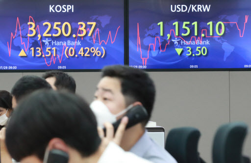 This photo, taken on Thursday, shows electronic signboards at a Hana Bank dealing room in Seoul that show the trading of Korean stocks and the local currency. (Yonhap)