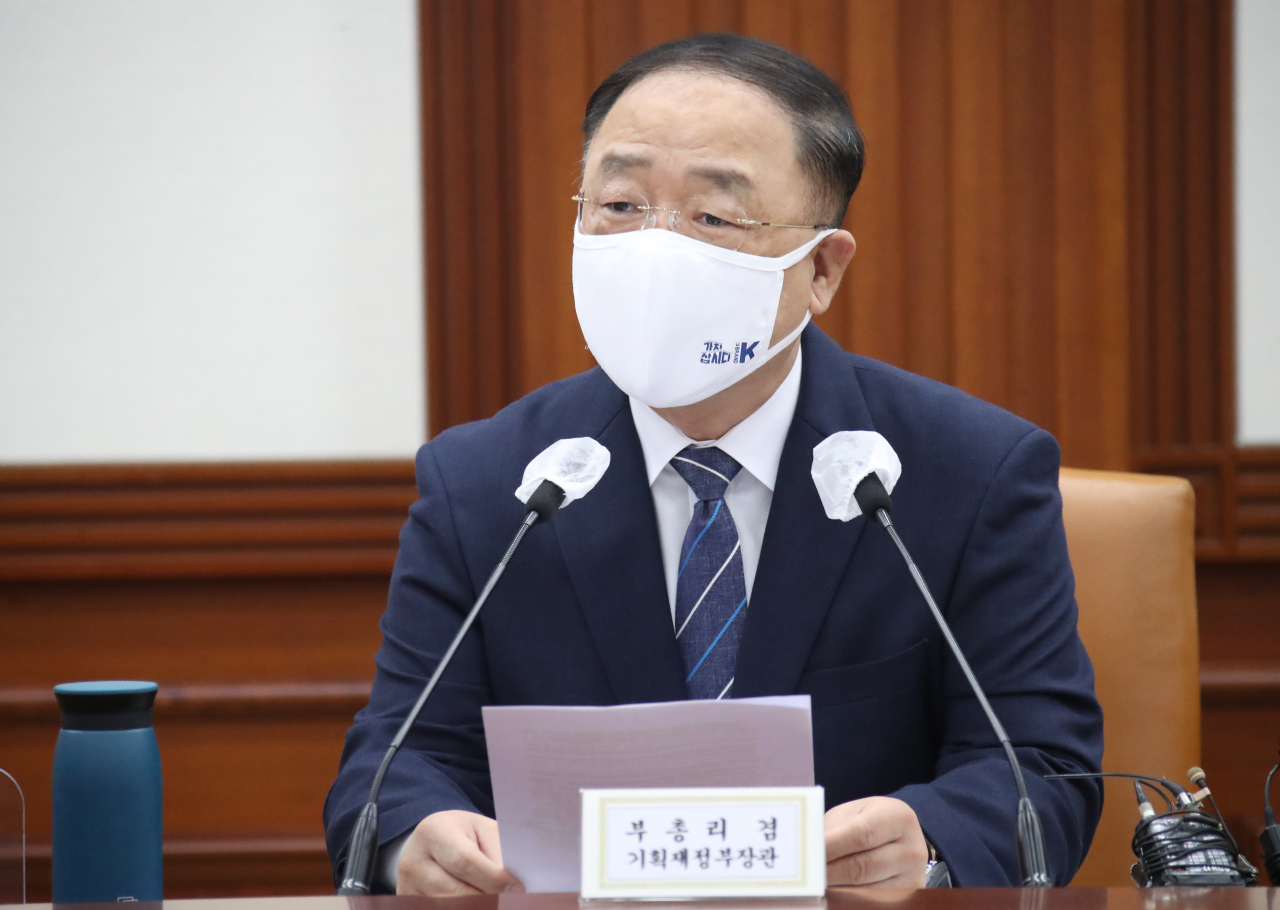 Finance Minister and Deputy Prime Minister Hong Nam-ki attends a meeting on the