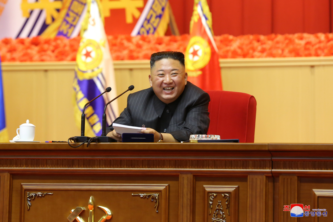 North Korean leader Kim Jong-un attends the first-ever workshop of military commanders and political officers in Pyongyang, in this undated photo released by the North's official Korean Central News Agency on Friday. At the workshop, which ran from July 24 through 27, Kim made no mention of nuclear weapons or relations with South Korea or the United States. (Korean Central News Agency)