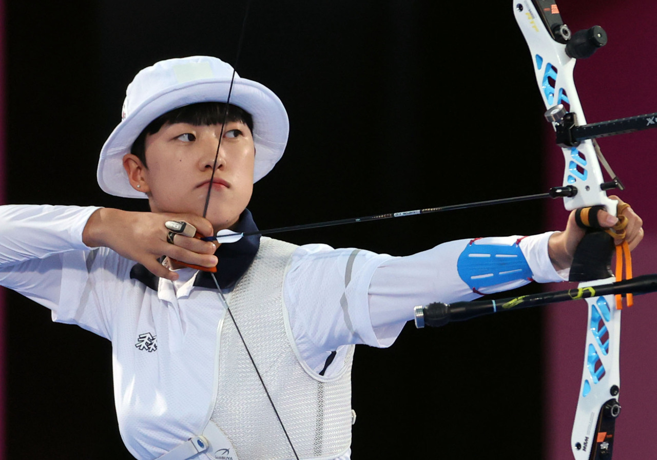 Archer An San competes in women's individual archery of the Tokyo Olympics on Thursday. (Yonhap)