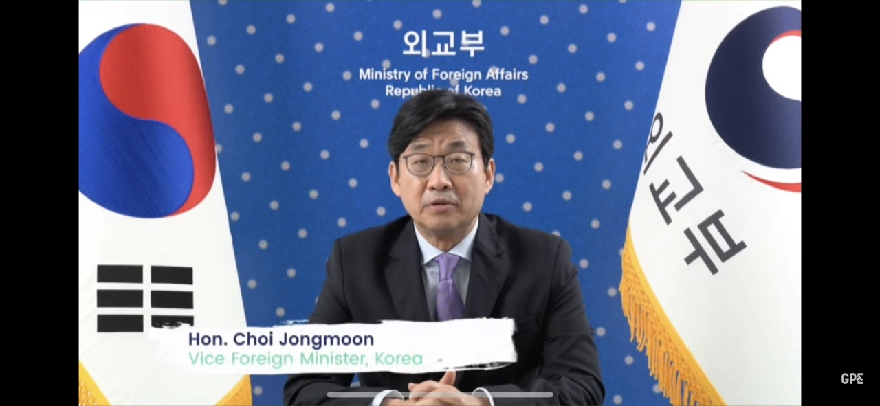Second Vice Foreign Minister Choi Jong-moon speaks during his video-linked participation in the Global Education Summit on Thursday in this photo provided by the foreign ministry. (Foreign Ministry)