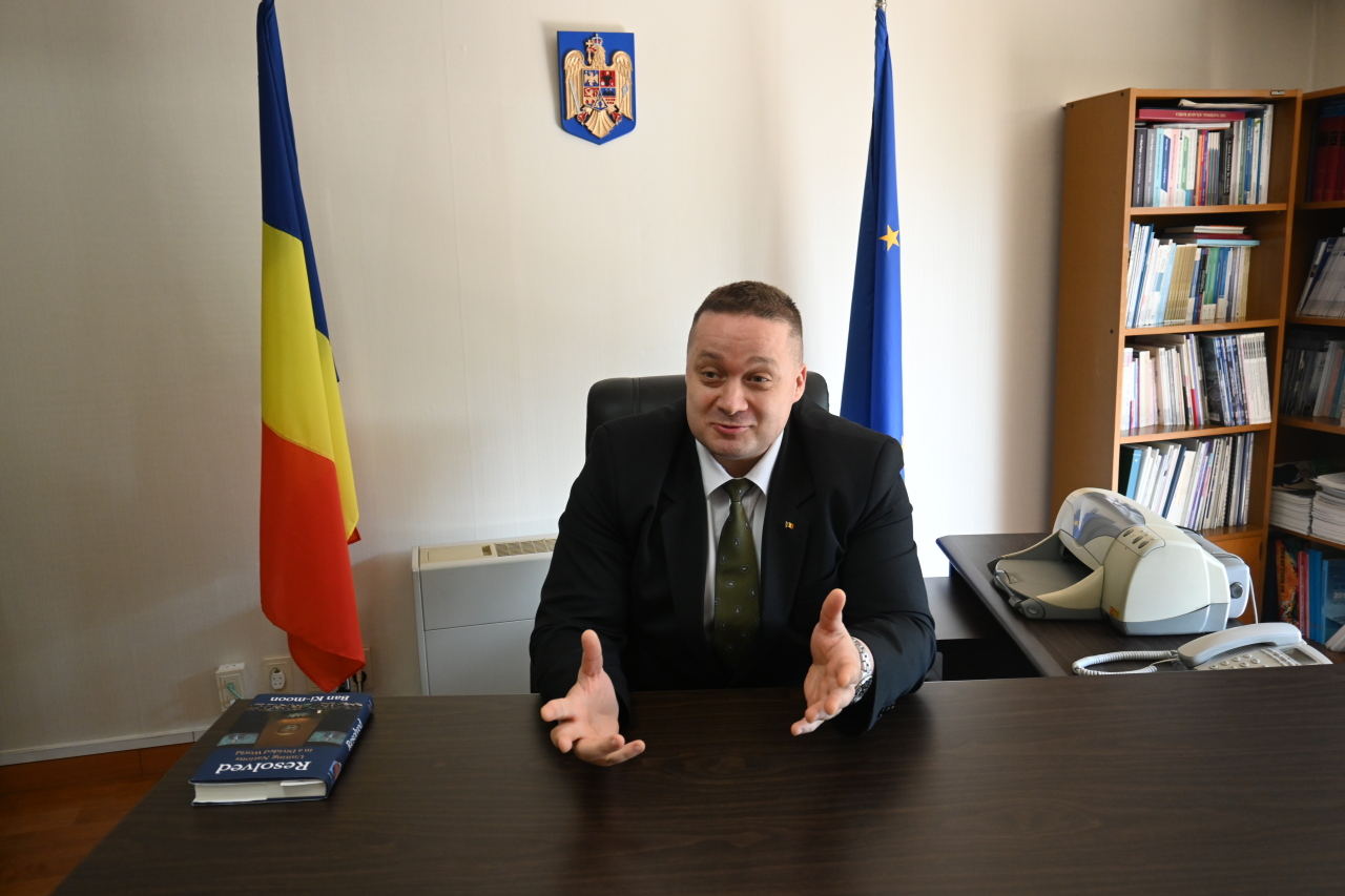 Costin-Adrian Ionescu, Romania's charge d'affaires ad interim in Korea speaks during a recent interview with The Korea Herald. (Sanjay Kumar/The Korea Herald)