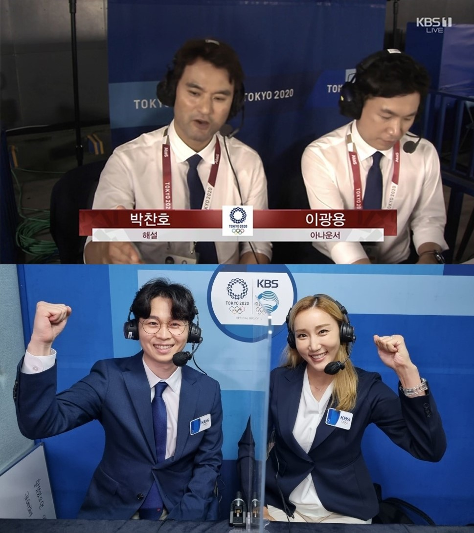 The top photo shows Korean baseball legend Park Chan-ho (left) and KBS baseball announcer Lee Kwang-yong. The bottom photo shows KBS volleyball announcer Lee Ho-geun (left) and volleyball legend Han Yoo-mi. (KBS)