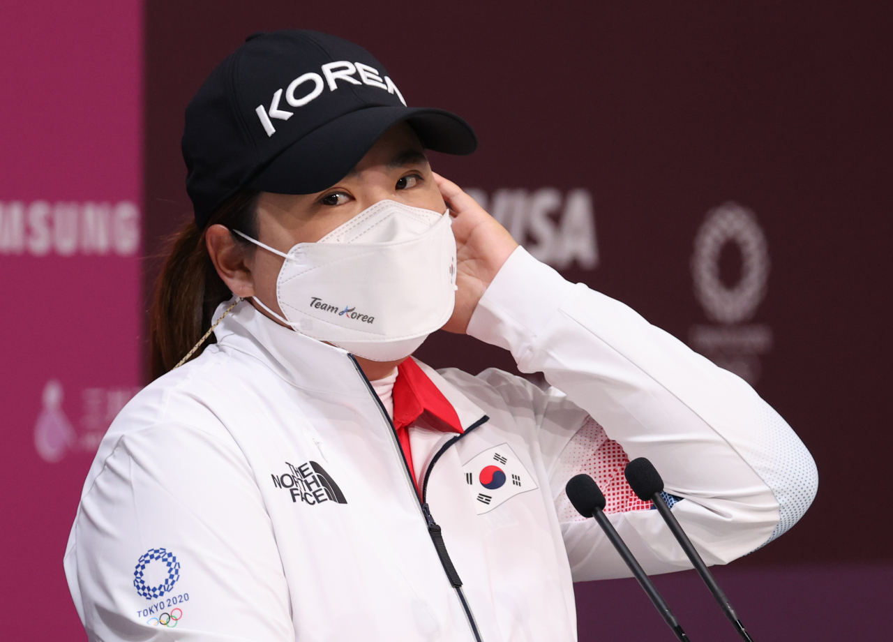Park In-bee of South Korea speaks at a press conference at Kasumigaseki Country Club in Saitama, Japan, on Monday, ahead of the Tokyo Olympic women's golf tournament. (Yonhap)