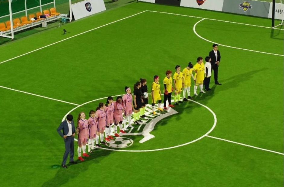 """Two teams line up for a game in """"Kick a Goal."""" (SBS)"""