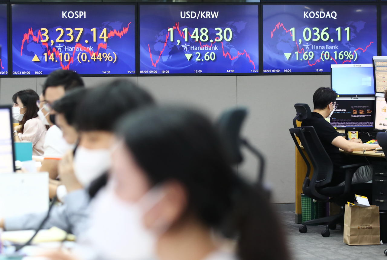 Electronic signboards at a Hana Bank dealing room in Seoul show the benchmark Korea Composite Stock Price Index (KOSPI) closed at 3,237.14 on Tuesday, up 14.1 points or 0.44 percent from the previous session's close. (Yonhap)
